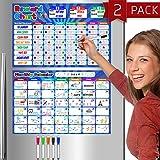 Reward & Behavior Star Chore Chart and Monthly Calendar, Magnetic Dry Erase Set for Kids - 11' x 17' Multiple...