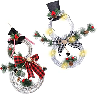 BESTOYARD 2pcs 2020 Christmas Snowman Wreath with Light Hanging Wreath with Red Berry Pine Cone Christmas Tree Hanging Dec...