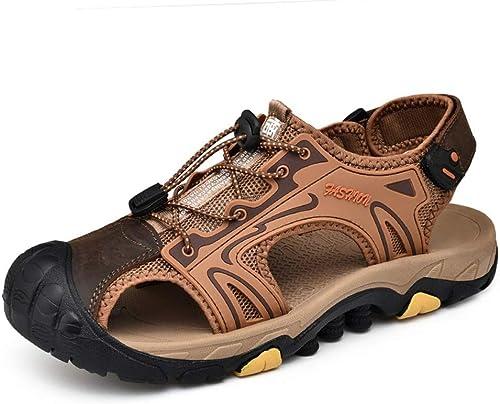 KERVINFENDRIYUN YY4 River chaussures été Hommes Sandales Chaussures Chaussures De Sport Chaussures De Plage en Plein Air Antidérapantes Baotou en Cuir Sandales Anti-Collision  shopping en ligne