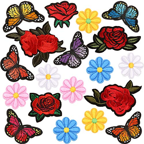 19 PCS Butterfly Iron On Patches Rose Embroidery Patch Sunflowers Appliques Flowers Sew On Stickers Repair Badges Logo for DIY Craft Decor Backpack, Hats, Jackets, Shirts, Vests, Shoes, Jeans