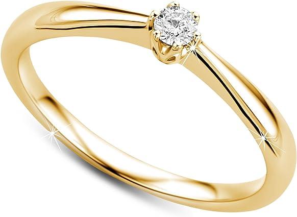 anillo compromiso solitario de oro con diamante
