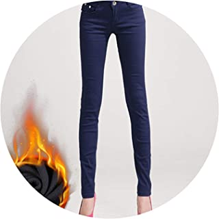 Glittering time-High Waist Pants Women's Warm Jeans for Woman Plus Size Candy Color Thick Velvet Winter Warm Jeans,Navy Blue,33