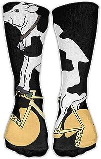 remmber me, Calcetines clásicos para hombres y mujeres Divertidos Vaca en bicicleta de queso Medias atléticas Calcetines largos Talla única