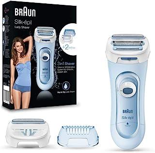 Braun Silk-épil Lady Shaver 5160 - Afeitadora eléctrica femenina, uso en seco o húmedo, sin cable, con 3 accesorios (inclu...