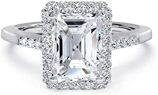 2.4ctw Emerald Cut Cubic Zirconia Wedding Rings for Women Anniversary Engagement Ring, White AAA CZ in Rhodium / 18K Yellow Gold Plating, Size 5-10