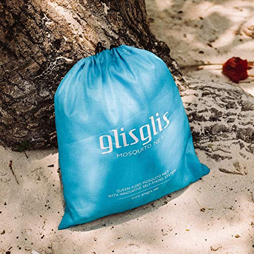 GlisGlis Blue Cube – XL Moskitonetz in Würfelform, bereits imprägniert für tropische Gebiete mit Malaria, Gummizug im Boden, Eingang mit sicherem Reißverschluss | Mückennetz, Doppelbett, 200x200x200cm