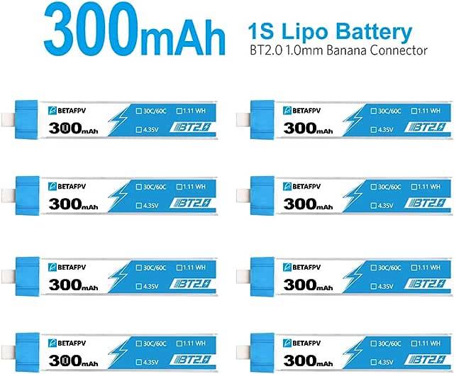 BETAFPV 8pcs 300mAh 1S Lipo Battery
