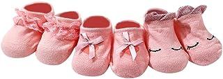H.eternal, Calcetines de bebé de 3 pares cómodos calcetines de algodón con encaje y lazo para 0-3 meses de cumpleaños, calcetines de cumpleaños (6-12 meses, color rosa caliente)