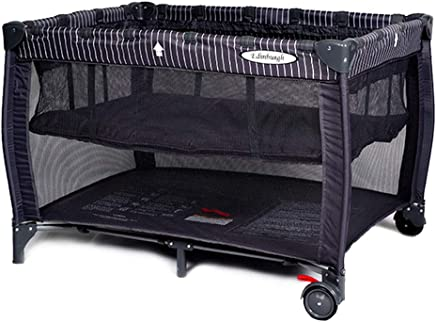 ALBB Portable Baby Travel Cot  Activity Play Center  Carry Bag  Safety Arc Corner  Wheels Brakes