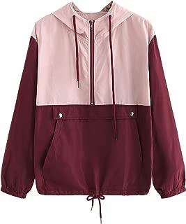 SweatyRocks Women's Casual Colorblock Kangaroo Pocket Hooded Windbreaker Jacket