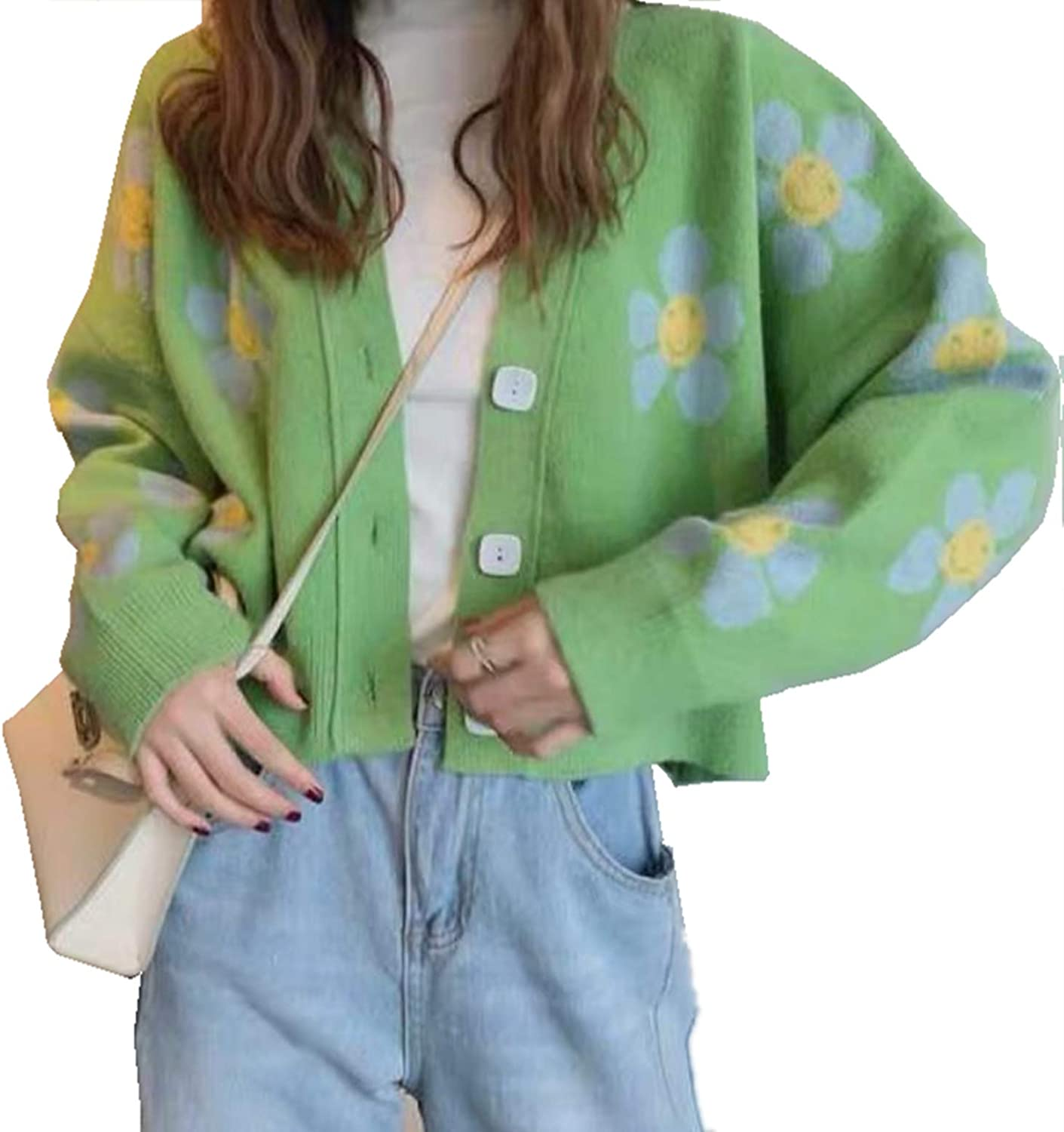 Women's Long Sleeve Cardigan Sweater Y2K Top Cropped Knit Floral Pattern V Neck Button Down Oversized Loose Cardigan