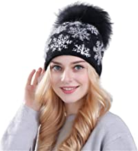 Women Christmas Hat Wool Knit Ski Beanie Hat Xmas Snowflake Hairball Hat Baggy Warm Crochet