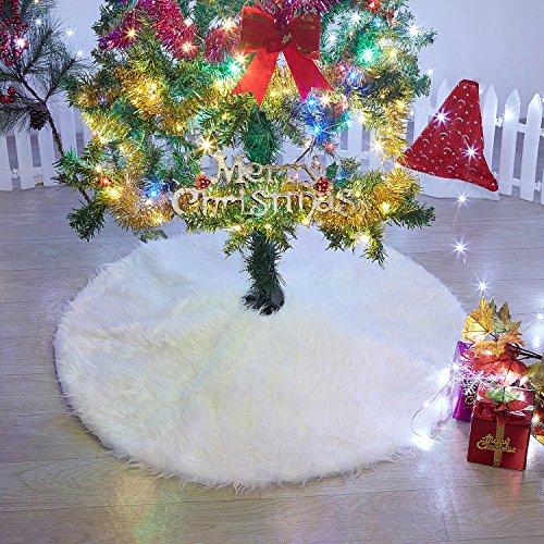 Marry Acting, tappetino per base dell'albero di Natale, in finta pelliccia, da 91,4cm, colore bianco neve