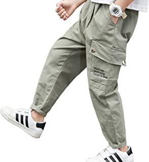 iiniim Kids Youth Boys Cotton Pants Elastic Waistband Ankle Length Pants Casual Slim Trousers Sweatpants with Pockets