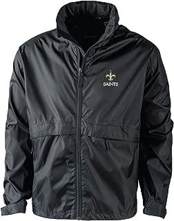 NFL New Orleans Saints Men's Sportsman Waterproof Windbreaker Jacket, Black, X-Large