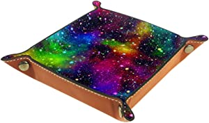 Night Starry Sky Rainbow Colors Folding Dice Tray, PU Leather Dice Holder Rolling Trays for RPG Dice Gaming D&D and Other Table Games