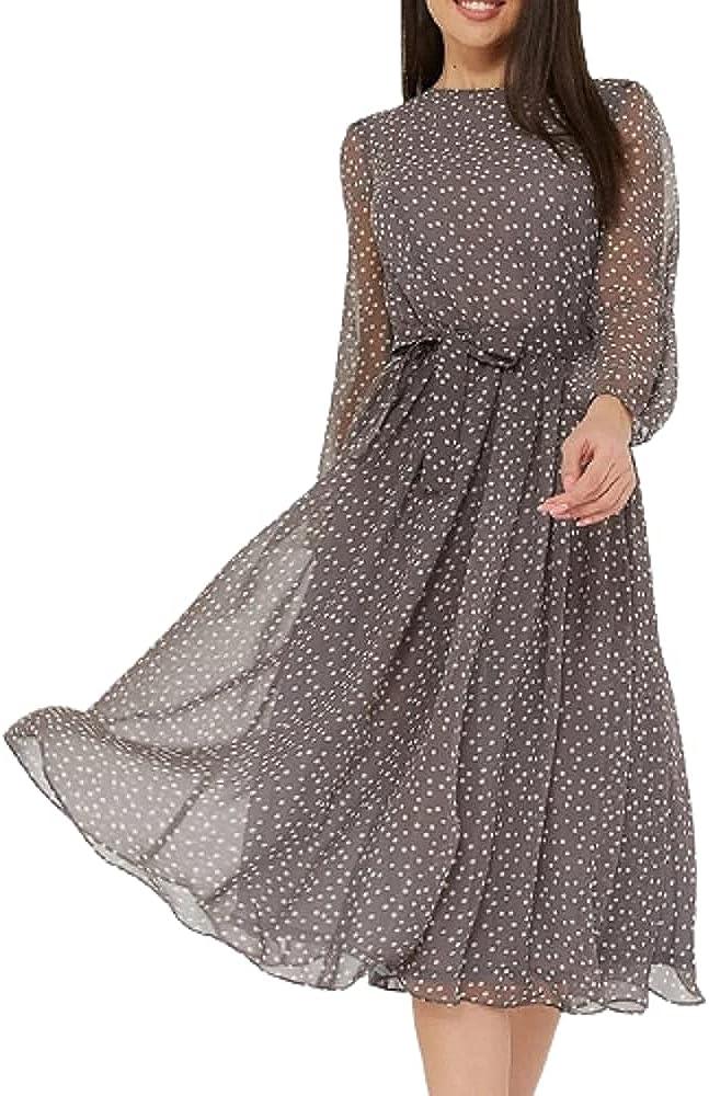 Elegant Dot Print Long Sleeve Polka Dress O Neck Chiffon A Line Women Casual Autumn Dress Vintage Midi Vestidos
