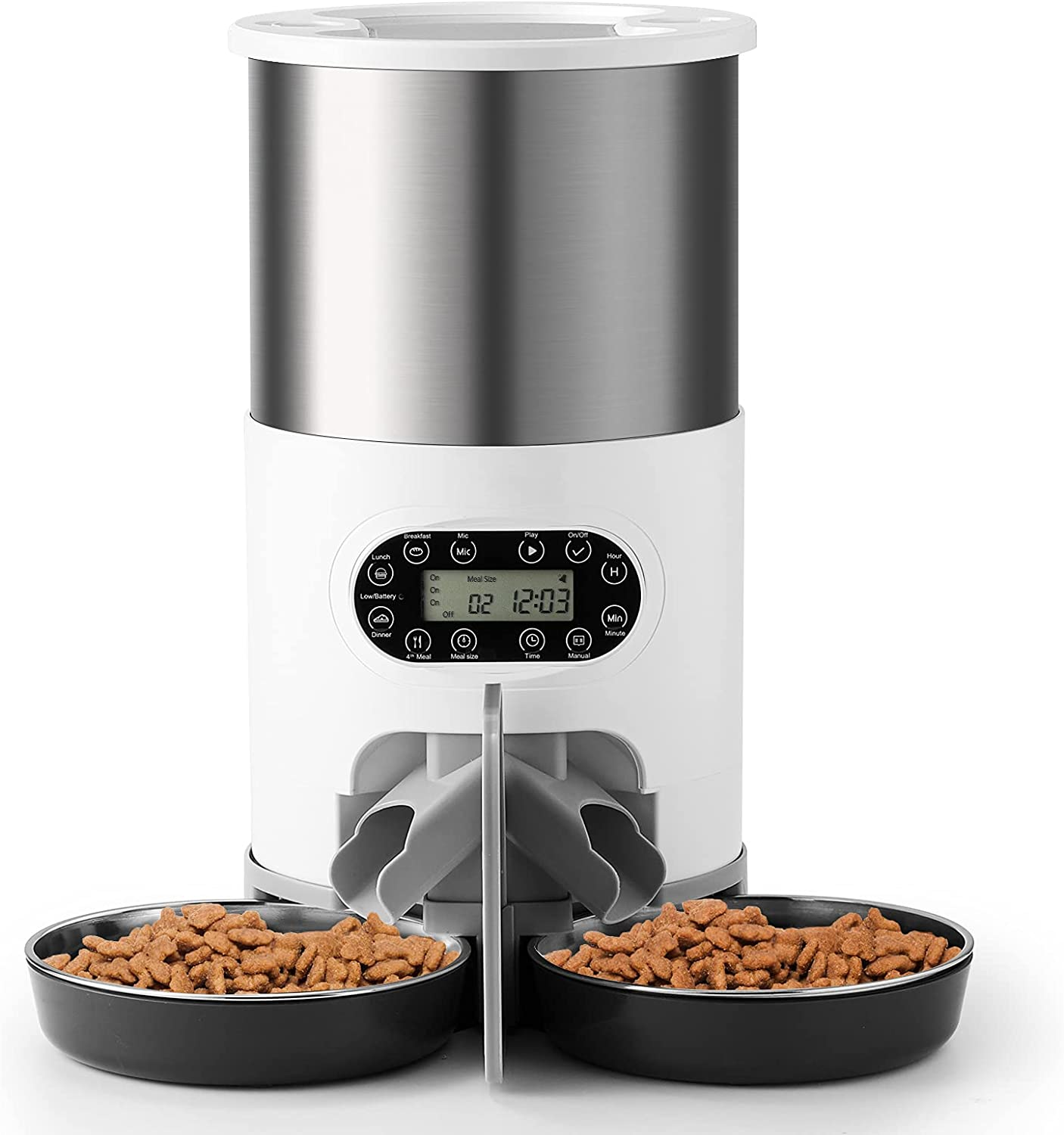 iPettie Automatic Pet Feeder, Stainless Steel Pet Food Dispenser with Two-Way Splitter, Voice Recorder, Dishwasher Safe Container & Bowl, Up to 50 Portion Control 4 Meals Daily for 2 Dogs or Cats