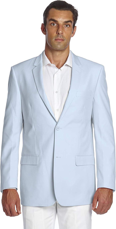 CONCITOR Men's Suit Jacket Separate Blazer Coat Solid BABY BLUE Color Two Button