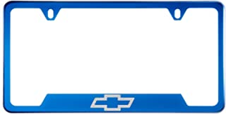 1x Laser Etched Fit Chevy Logo on Candy Blue Chrome Bottom Cut Out Stainless Steel License Plate Frame Holder with Aluminum Screw Cap