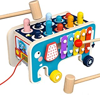 Wooden Hammer Toys for 1 2 3 Year Old,3 in 1 Pull Along Animal Bus Pound & Tap Bench Hit Mole Hamster Game for Early Educa...