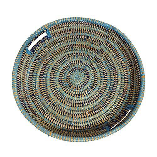 EA Déco Naturel & Design ABFTBLE Plateau Tchèkè, Plastique, Tricolore Bleu, 40 x 40 x 7 cm