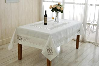 Violet Linen Versalies Embroidered Vintage Lace Design Oblong/Rectangle Tablecloth, 70 x 120, Cream