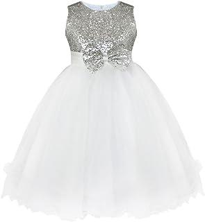 3df07b6c244d8 YiZYiF Enfant Fille Robe Soirée Cérémonie Robe Mariage Robe à Paillettes  Brillant Robe Princesse Tulle Robe