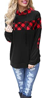 Blooming Jelly Women's Color Block Plaid Shirt Crew Neck Elbow Patches Pullover Sweatshirt Top