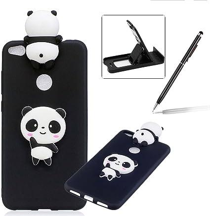 Coque Huawei P8 Lite 2017 Silicone, Herzzer Dessin Style Mignon 3D Panda Étui Housse Soft Doux TPU Gel Backcover Ultra Mince Léger Flexible Téléphone ...