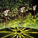 GIGALUMI Solar Pathway Lights 6 Pack, Solar Landscape Lights Warm White, Super Bright High Lumen...