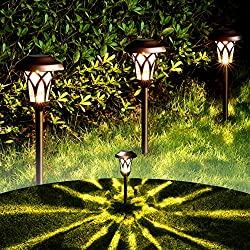 in budget affordable GIGALUMI Solar Pathway Lights Outdoor, 6 pcs. Ultra-bright solar LED light with high light output …
