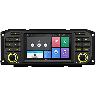 Android 10.0 Car Stereo Radio Multimedia Player for Jeep Dodge Chrysler, Bluetooth GPS Navigation with 5 Inch Touch Screen Quad-Core 2G RAM USB SD Port Supports TPMS DVR OBD2 Backup Camera