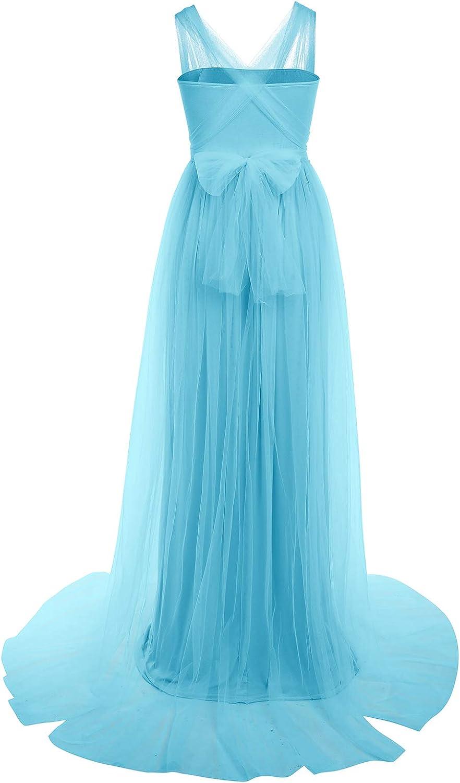 IMEKIS Frauen Schwangere Fotoshooting Kleid /Ärmellose Mutterschaft Hochzeits Abendkleid Partykleid Lang T/üllrock Babyparty Fotografie Requisiten
