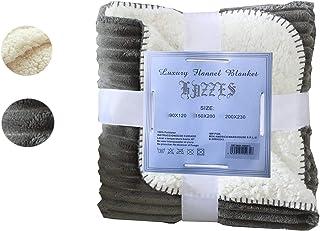 Hazzes Home® Mantas Raya de Franela Sherpa - Tela de Cepillo Extra Suave, Súper cálida, Manta de sofá acogedora y Ligera, Cuidado fácil … B07RJGTSFK (150x200cm, Gris)