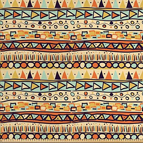 ABAKUHAUS Primitivo Tela por Metro, Estilo Étnico Mexicano, Decorativa para Tapicería y Textiles del Hogar, 1M (148x100cm), Multicolor