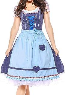 Hirolan Dirndl 4 TLG Damen Bandage Schürze Bayerisch Oktoberfest Kostüme Bardame Dirndl Kleid Trachtenkleid mit Stickerei, Dirndl Bluse, passender Schürze