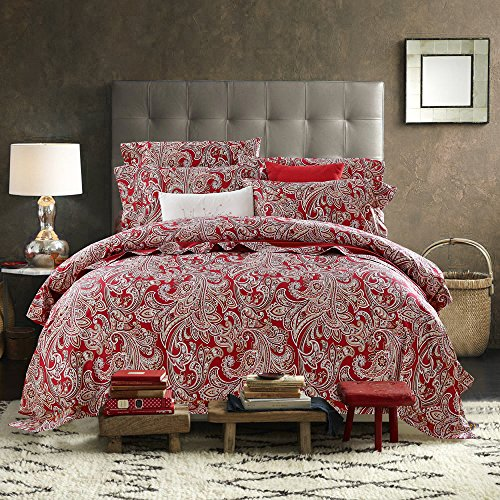 LELVA Bohemian Ethnic Style Bedding Boho Duvet Cover Boho Bedding Set Paisley Bedding Flat/Fitted Sheet Set 4 Piece (Full, 2)