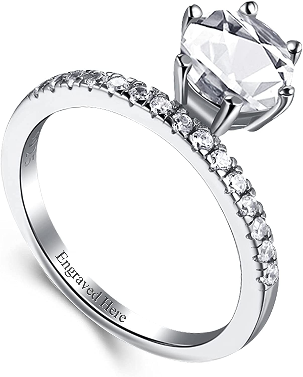 DIYA Now on sale Sterling Silver 1 Carat P Moissanite Engagement Round Rings Max 51% OFF