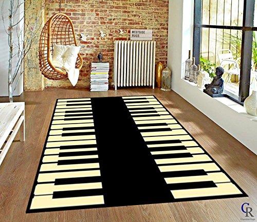 "Champion Rugs Music Piano Keys Musical Studio Room Play Keyboard Time Area Rug (5' 3"" X 7' 5"")"