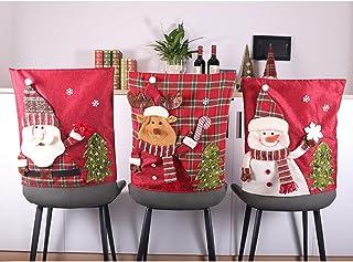 LAMF Juego de 6 fundas para silla de Navidad, diseño de Papá Noel, muñeco de nieve, alce de Navidad, tapa trasera para silla de cocina, comedor, fundas para decoración navideña
