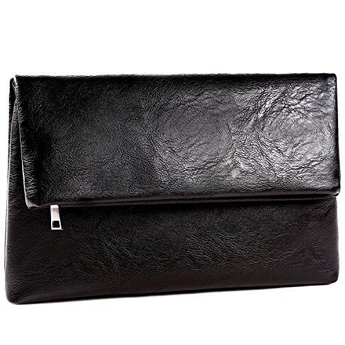 [ジルマン] クラッチバッグ メンズ セカンドバッグ 結婚式 黒 革 二つ折り 改良品 (02. レギュラー(標準))