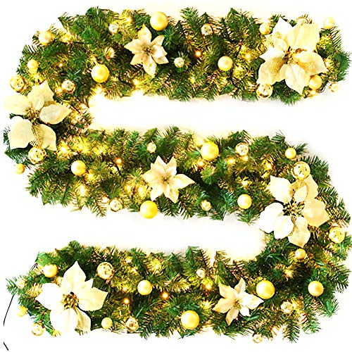 Christmas Garland Wreath Stairs Light Decoration Led Fireplace Ornament Illuminated Pine Cones Doors Yard Home Accessories