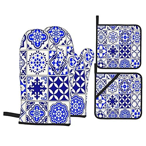 Juego de 4 manoplas para horno y soportes para ollas,patrón marroquí,mosaico floral de Lisboa,mediterráneo,azul marino,arabesco mexicano,guantes de poliéster para barbacoa con forro acolchado,
