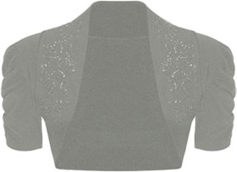 GirlzWalk Women Ruched Beaded Short Sleeve Shrug
