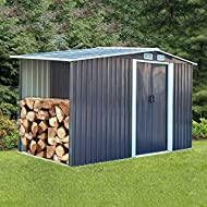 The Fellie Garden Metal Storage Shed 4x8ft Galvanized Tool Storage House for Patio Courtyard Outdoor...