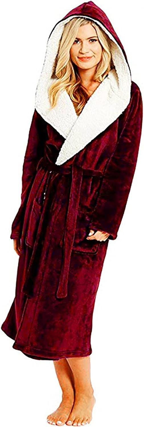 Big & Tall Hooded Fleece Bathrobe with Belt for Women Classic Home Pullovers Bath Robe - Plush Long Soft Woven Robes