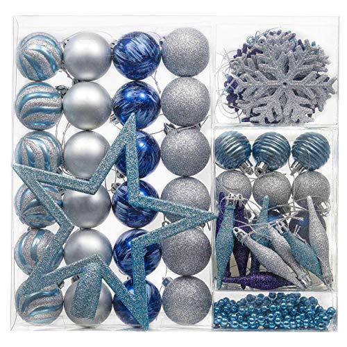 Valery Madelyn Palle di Natale 60 Pezzi di Palline di Natale, 3-5 cm Auguri Invernali Argento e Blu Infrangibili Ornamenti Palla di Natale Decorazione per la Decorazione Dell'Albero di Natale