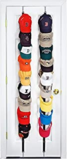 Perfect Curve CapRack18 Over-The-Door Cap Organizer, Two Straps, Holds Up To 18 Caps, Black