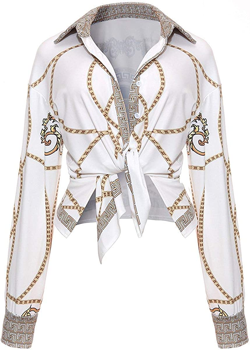 Women's Casual Turn Down Collar Long Sleeve Geometric Print Button Down Shirt Blouse